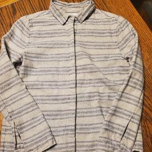 AYR striped blue and cream cotton&wool blend shirt
